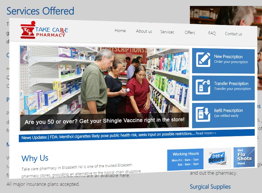 Takecare Pharmacy Website